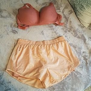 Rose pink with gold sheen shorts